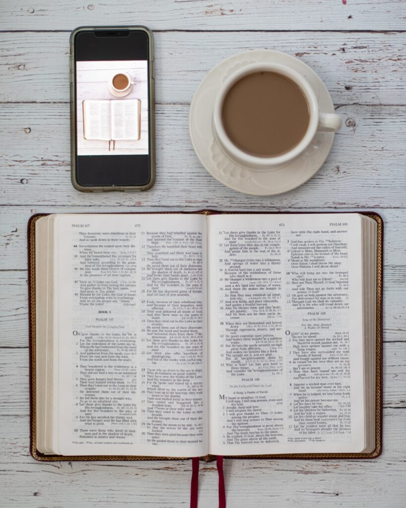 Photo of coffee and a bible study